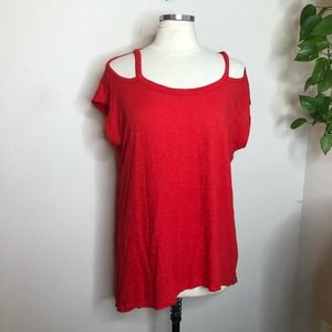 Anthropologie cold shoulder tunic top red small